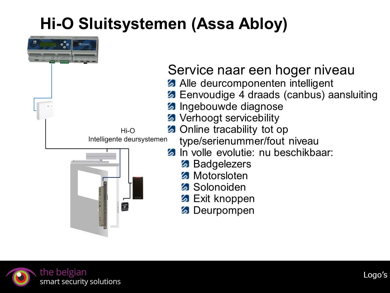Hi-O Sluitsystemen (Assa Abloy) Logo's Service naar een hoger niveau Alle deurcomponenten intelligent Eenvoudige 4 draads (canbus) aansluiting Ingebou