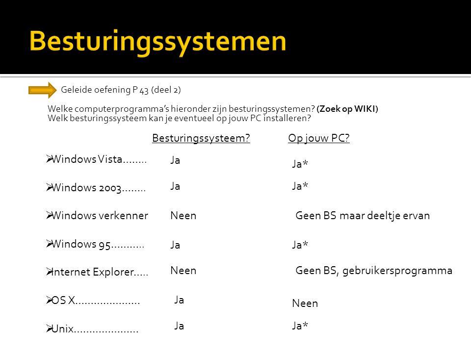 Geleide oefening P 43 (deel 2) Welke computerprogramma's hieronder zijn besturingssystemen? (Zoek op WIKI) Welk besturingssysteem kan je eventueel op