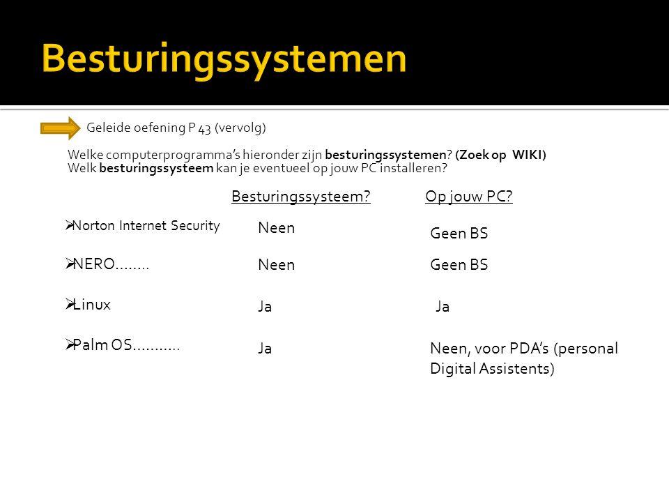 Geleide oefening P 43 (vervolg) Welke computerprogramma's hieronder zijn besturingssystemen? (Zoek op WIKI) Welk besturingssysteem kan je eventueel op