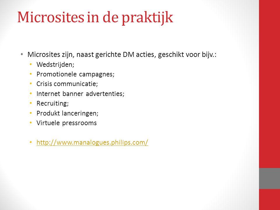 Microsites in de praktijk Microsites zijn, naast gerichte DM acties, geschikt voor bijv.: Wedstrijden; Promotionele campagnes; Crisis communicatie; In