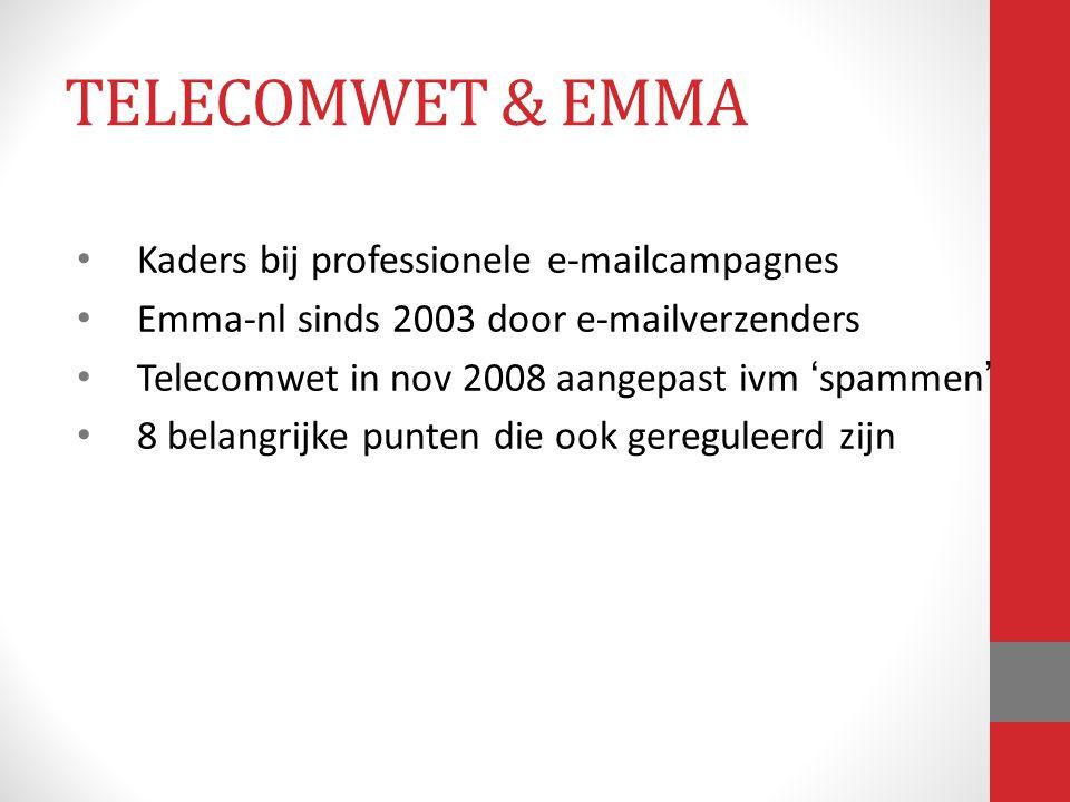 Kaders bij professionele e-mailcampagnes Emma-nl sinds 2003 door e-mailverzenders Telecomwet in nov 2008 aangepast ivm 'spammen' 8 belangrijke punten