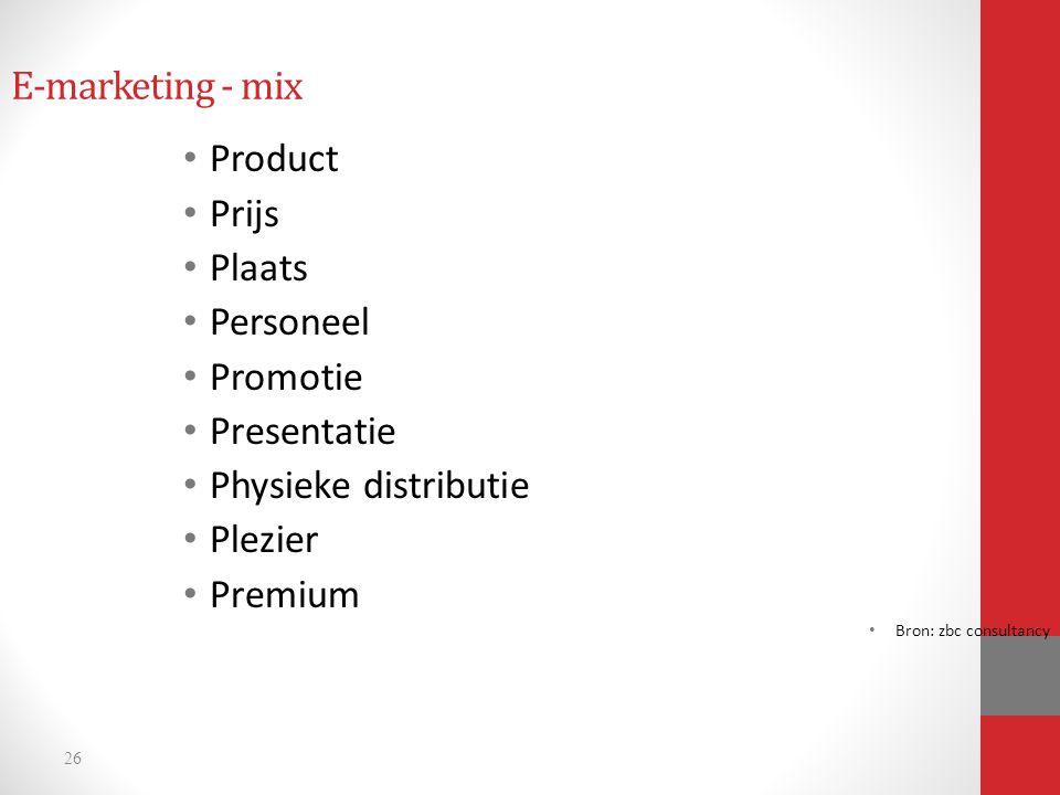 26 E-marketing - mix Product Prijs Plaats Personeel Promotie Presentatie Physieke distributie Plezier Premium Bron: zbc consultancy