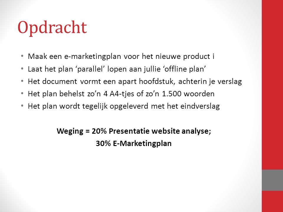 Opdracht Maak een e-marketingplan voor het nieuwe product i Laat het plan 'parallel' lopen aan jullie 'offline plan' Het document vormt een apart hoof
