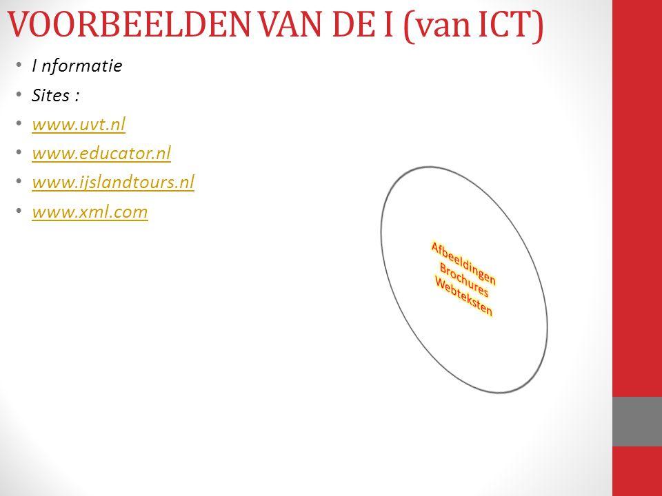 I nformatie Sites : www.uvt.nl www.educator.nl www.ijslandtours.nl www.xml.com VOORBEELDEN VAN DE I (van ICT)