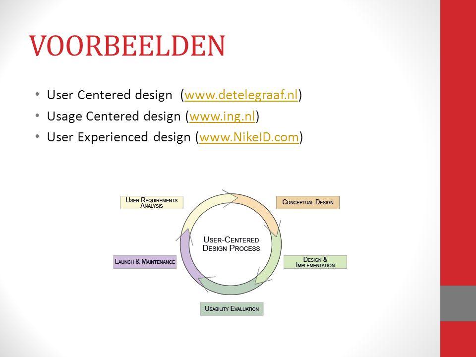 User Centered design (www.detelegraaf.nl)www.detelegraaf.nl Usage Centered design (www.ing.nl)www.ing.nl User Experienced design (www.NikeID.com)www.N