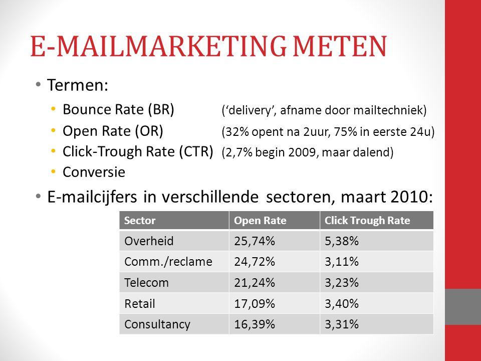Termen: Bounce Rate (BR) ('delivery', afname door mailtechniek) Open Rate (OR) (32% opent na 2uur, 75% in eerste 24u) Click-Trough Rate (CTR) (2,7% be