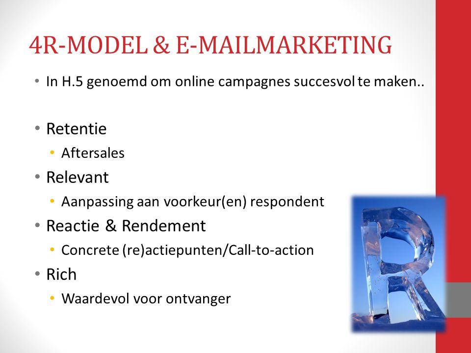In H.5 genoemd om online campagnes succesvol te maken.. Retentie Aftersales Relevant Aanpassing aan voorkeur(en) respondent Reactie & Rendement Concre