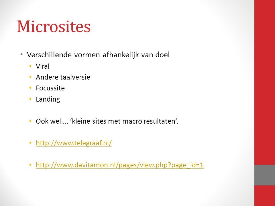 Microsites Verschillende vormen afhankelijk van doel Viral Andere taalversie Focussite Landing Ook wel…. 'kleine sites met macro resultaten'. http://w