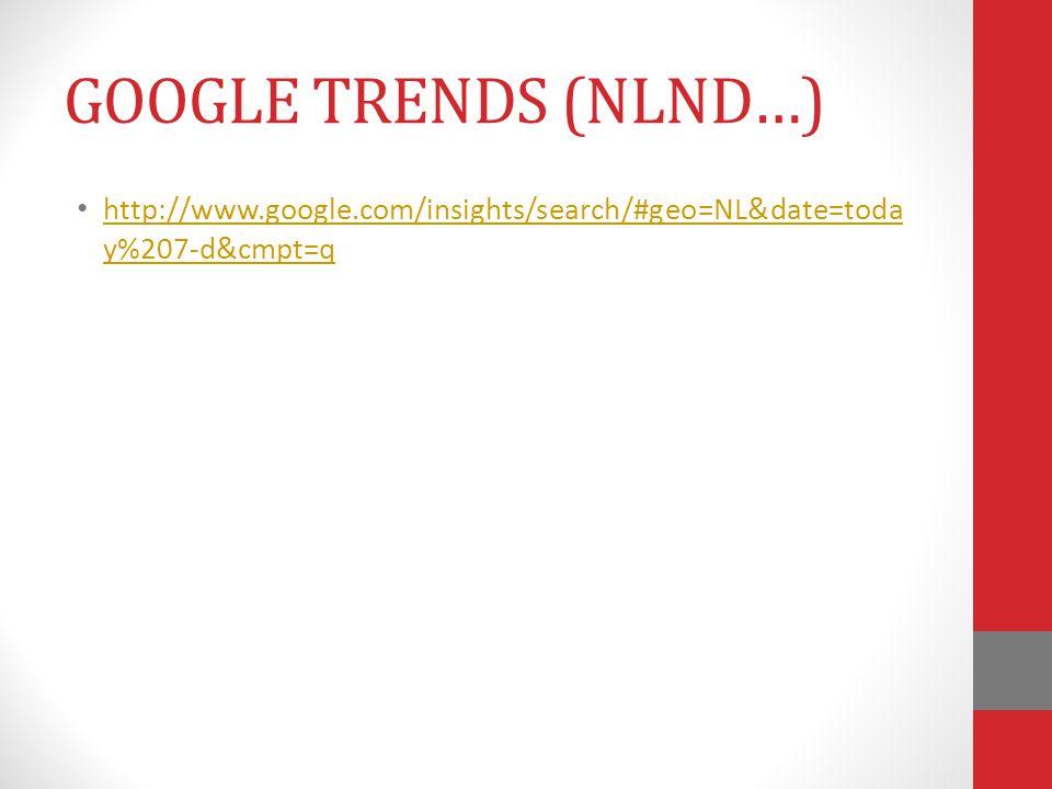 http://www.google.com/insights/search/#geo=NL&date=toda y%207-d&cmpt=q http://www.google.com/insights/search/#geo=NL&date=toda y%207-d&cmpt=q GOOGLE T