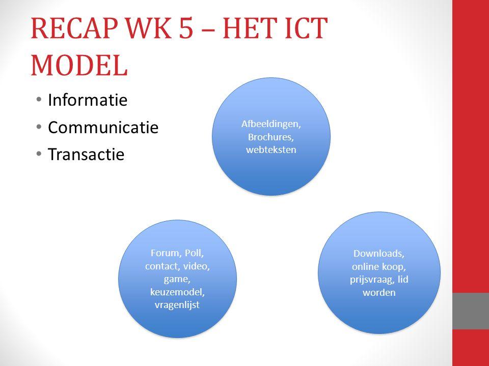 Informatie Communicatie Transactie Afbeeldingen, Brochures, webteksten Afbeeldingen, Brochures, webteksten Forum, Poll, contact, video, game, keuzemod