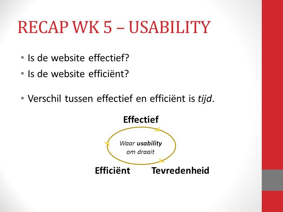 Is de website effectief? Is de website efficiënt? Verschil tussen effectief en efficiënt is tijd. Effectief EfficiëntTevredenheid Waar usability om dr