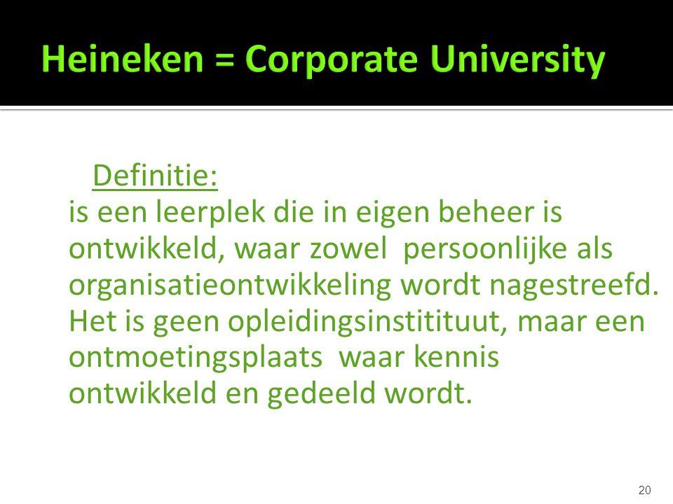 20 Definitie: is een leerplek die in eigen beheer is ontwikkeld, waar zowel persoonlijke als organisatieontwikkeling wordt nagestreefd.