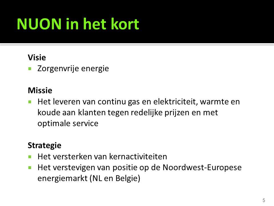 5 Visie  Zorgenvrije energie Missie  Het leveren van continu gas en elektriciteit, warmte en koude aan klanten tegen redelijke prijzen en met optimale service Strategie  Het versterken van kernactiviteiten  Het verstevigen van positie op de Noordwest-Europese energiemarkt (NL en Belgie)