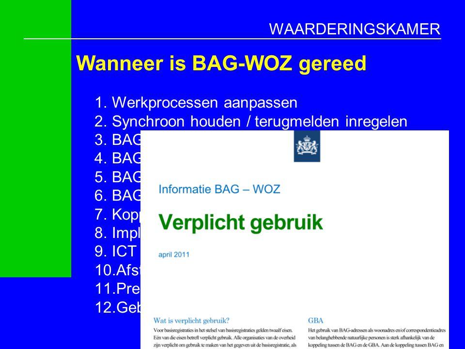 WAARDERINGSKAMER Wanneer is BAG-WOZ gereed 13 1.Werkprocessen aanpassen 2.Synchroon houden / terugmelden inregelen 3.BAG en WOZ adressering gelijktrek