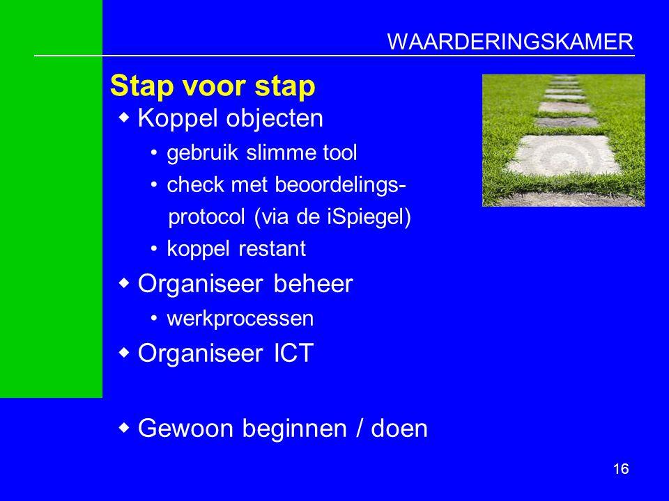 WAARDERINGSKAMER 16 Stap voor stap  Koppel objecten gebruik slimme tool check met beoordelings- protocol (via de iSpiegel) koppel restant  Organisee