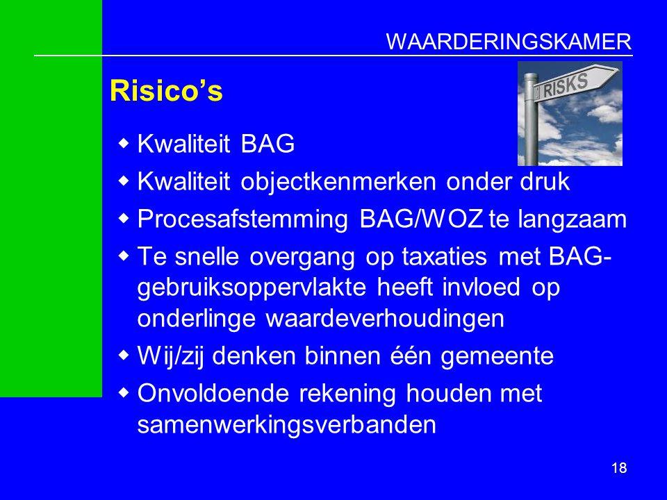 WAARDERINGSKAMER Risico's  Kwaliteit BAG  Kwaliteit objectkenmerken onder druk  Procesafstemming BAG/WOZ te langzaam  Te snelle overgang op taxati