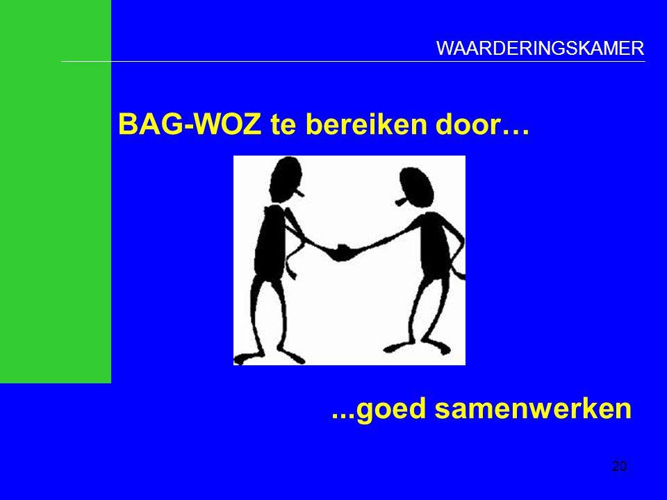 WAARDERINGSKAMER BAG-WOZ te bereiken door…...goed samenwerken 20