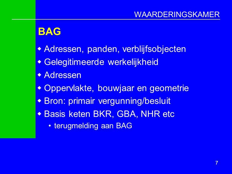 WAARDERINGSKAMER Risico's  Kwaliteit BAG  Kwaliteit objectkenmerken onder druk  Procesafstemming BAG/WOZ te langzaam  Te snelle overgang op taxaties met BAG- gebruiksoppervlakte heeft invloed op onderlinge waardeverhoudingen  Wij/zij denken binnen één gemeente  Onvoldoende rekening houden met samenwerkingsverbanden 18