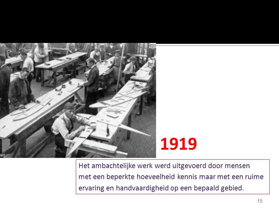 15 Het ambachtelijke werk werd uitgevoerd door mensen met een beperkte hoeveelheid kennis maar met een ruime ervaring en handvaardigheid op een bepaal