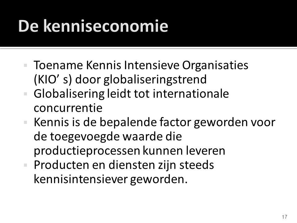  Toename Kennis Intensieve Organisaties (KIO' s) door globaliseringstrend  Globalisering leidt tot internationale concurrentie  Kennis is de bepale