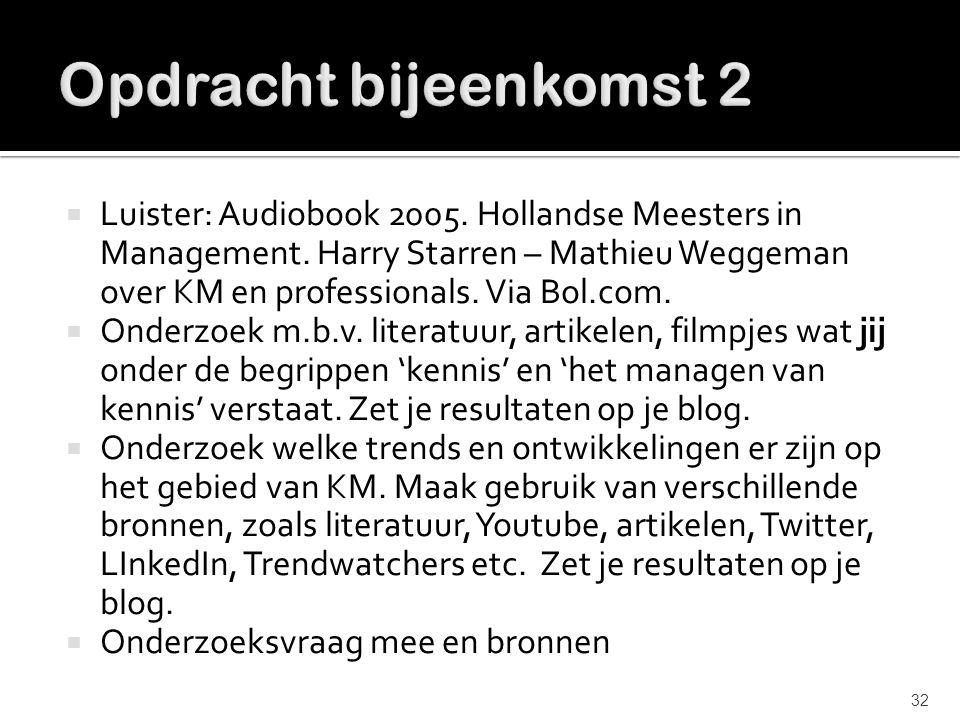  Luister: Audiobook 2005. Hollandse Meesters in Management. Harry Starren – Mathieu Weggeman over KM en professionals. Via Bol.com.  Onderzoek m.b.v