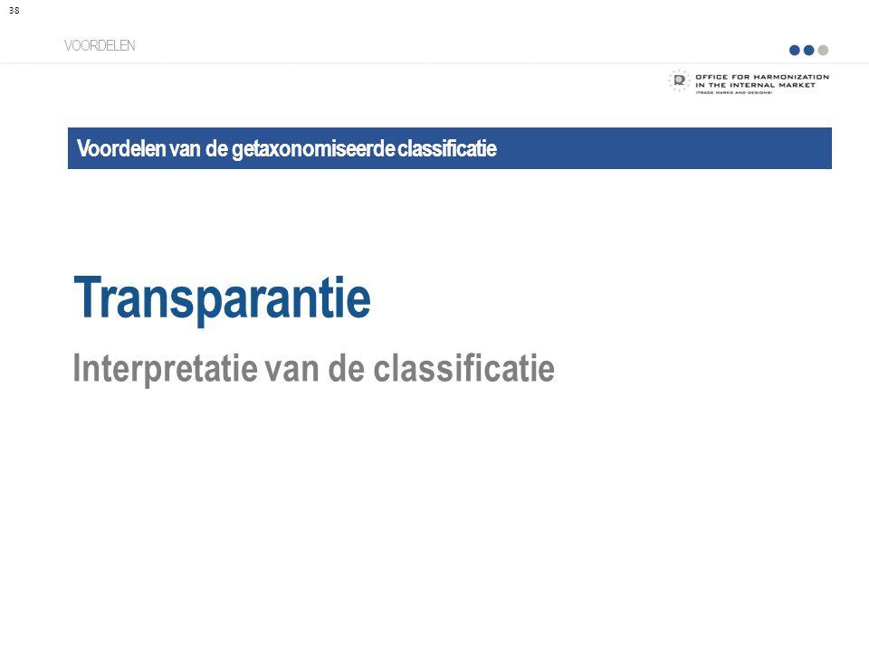 Voordelen van de getaxonomiseerde classificatie Transparantie VOORDELEN Interpretatie van de classificatie 38