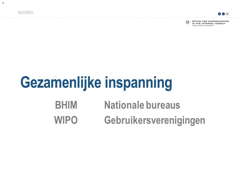 Gezamenlijke inspanning INLEIDING BHIMNationale bureaus WIPOGebruikersverenigingen 4
