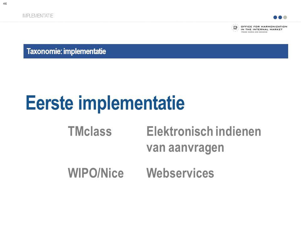 Taxonomie: implementatie Eerste implementatie IMPLEMENTATIE TMclassElektronisch indienen van aanvragen WIPO/Nice Webservices 46