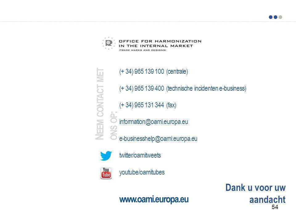 Dank u voor uw aandacht (+ 34) 965 139 100 (centrale) (+ 34) 965 139 400 (technische incidenten e-business) (+ 34) 965 131 344 (fax) information@oami.