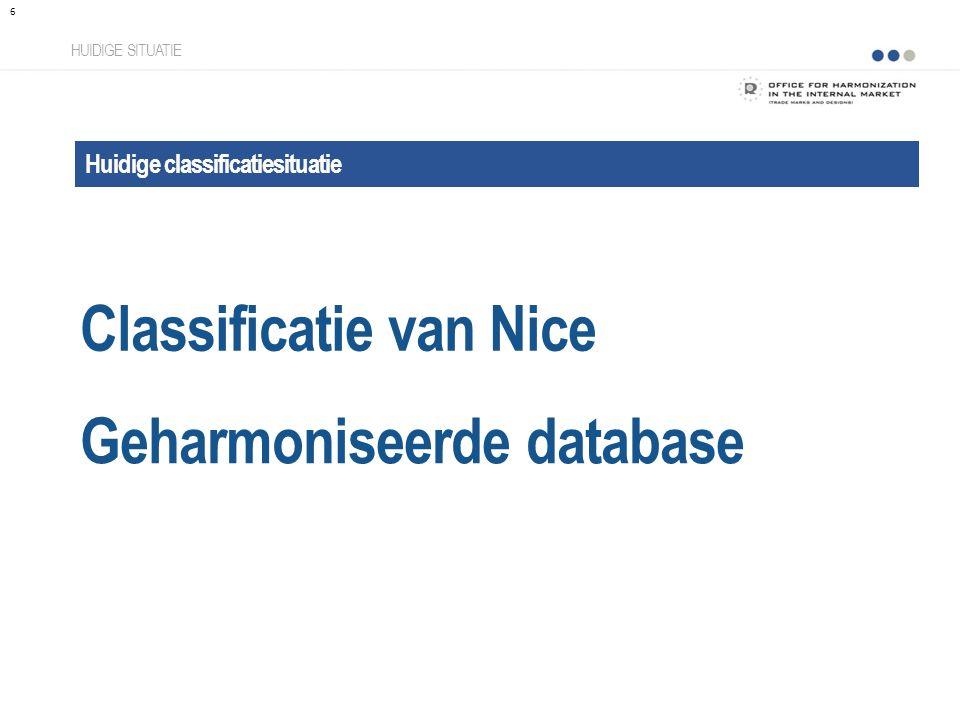 Classificatie van Nice HUIDIGE SITUATIE Huidige classificatiesituatie Geharmoniseerde database 6