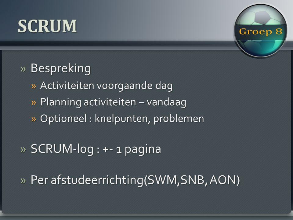 »Bespreking »Activiteiten voorgaande dag »Planning activiteiten – vandaag »Optioneel : knelpunten, problemen »SCRUM-log : +- 1 pagina »Per afstudeerrichting(SWM,SNB, AON)