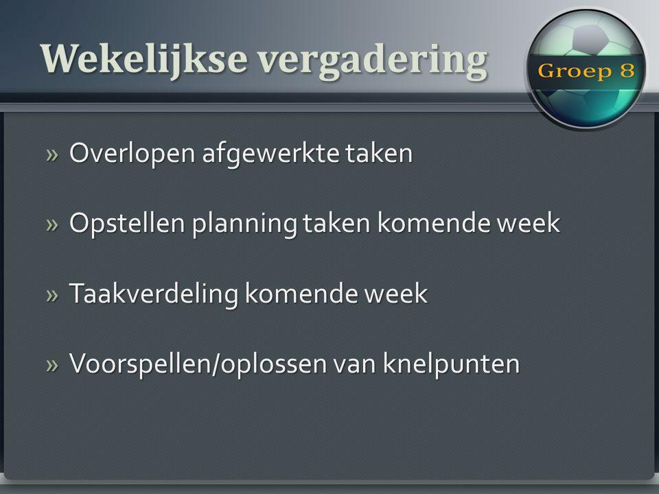 »Overlopen afgewerkte taken »Opstellen planning taken komende week »Taakverdeling komende week »Voorspellen/oplossen van knelpunten