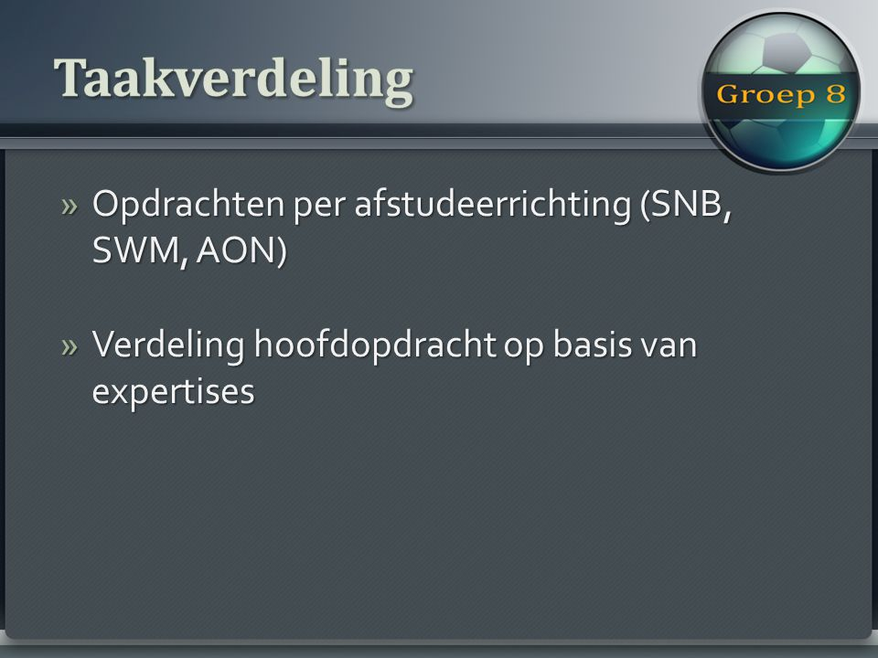 »Opdrachten per afstudeerrichting (SNB, SWM, AON) »Verdeling hoofdopdracht op basis van expertises