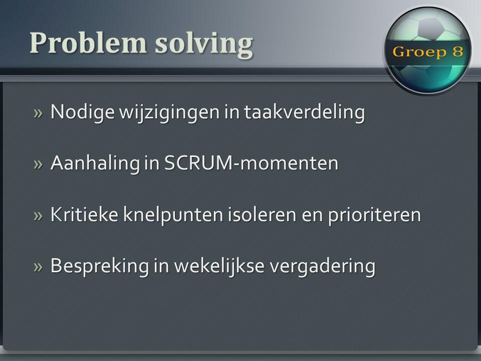 »Nodige wijzigingen in taakverdeling »Aanhaling in SCRUM-momenten »Kritieke knelpunten isoleren en prioriteren »Bespreking in wekelijkse vergadering