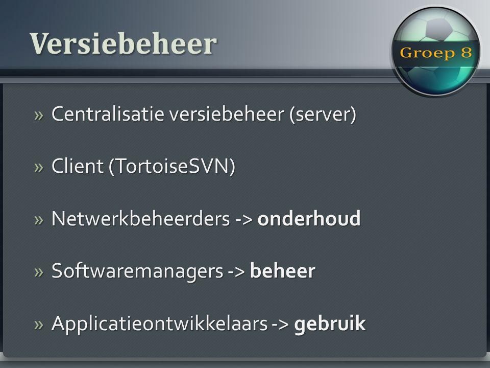 »Centralisatie versiebeheer (server) »Client (TortoiseSVN) »Netwerkbeheerders -> onderhoud »Softwaremanagers -> beheer »Applicatieontwikkelaars -> gebruik