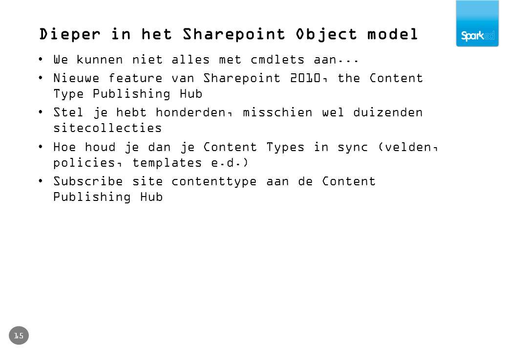 Dieper in het Sharepoint Object model 15 We kunnen niet alles met cmdlets aan... Nieuwe feature van Sharepoint 2010, the Content Type Publishing Hub S