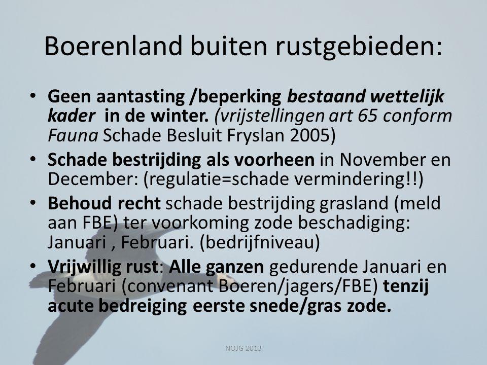 Boerenland buiten rustgebieden: Geen aantasting /beperking bestaand wettelijk kader in de winter. (vrijstellingen art 65 conform Fauna Schade Besluit