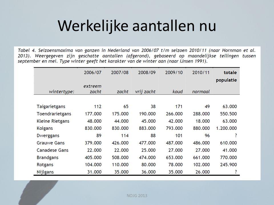 Werkelijke aantallen nu NOJG 2013