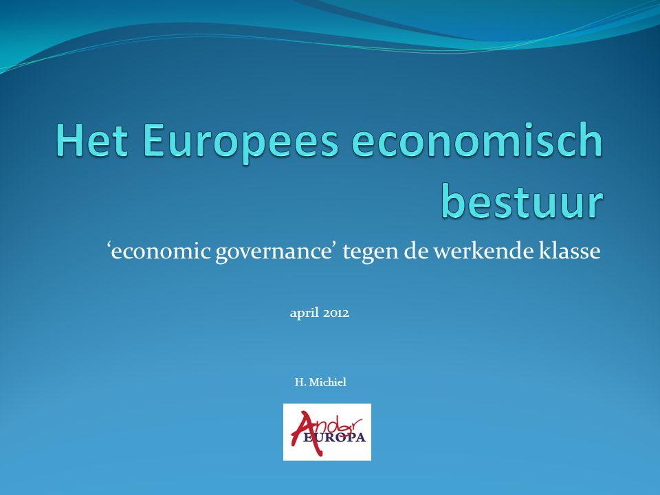 Overzicht Europees economisch bestuur vóór de eurocrisis  Maastricht (1992)  Stabiliteits- en Groeipact (1997) Europees economisch bestuur vanaf de eurocrisis 1.