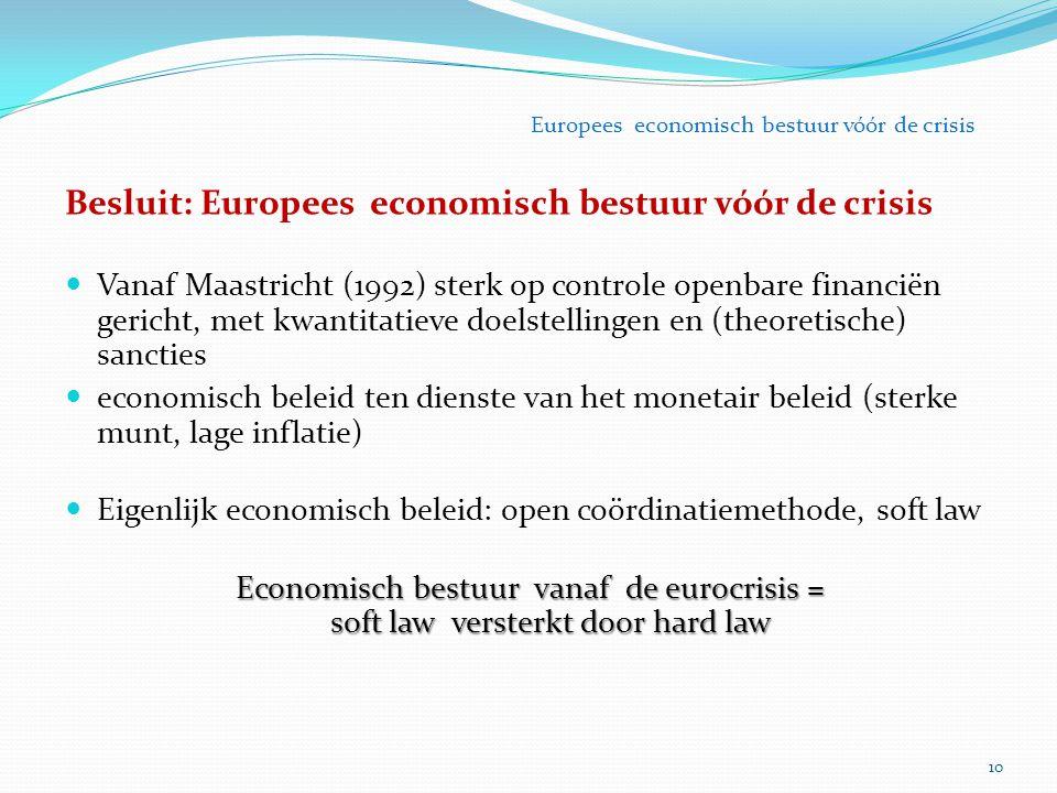 10 Europees economisch bestuur vóór de crisis Besluit: Europees economisch bestuur vóór de crisis Vanaf Maastricht (1992) sterk op controle openbare f