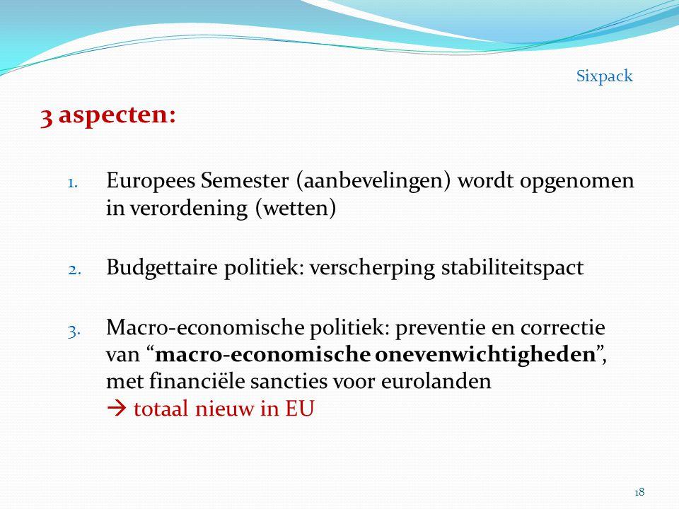 3 aspecten: 1. Europees Semester (aanbevelingen) wordt opgenomen in verordening (wetten) 2. Budgettaire politiek: verscherping stabiliteitspact 3. Mac