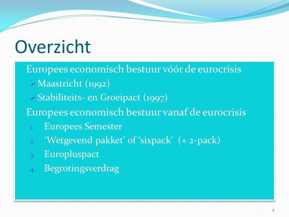 Het Europees economisch bestuur vóór de eurocris Verdrag van Rome (1957): alleen coördinatie van de conjunctuurpolitiek Vanaf Maastricht (1992) met oog op invoering euro: budgettaire orthodoxie bekommernis was: sterke euro, lage inflatie  staatsfinanciën onder controle houden Initiatieven:  Maastrichtnormen (1992)  Stabiliteitspact (1997)  globale richtsnoeren voor het economisch beleid , open coördinatiemethode  Lissabonstrategie 3