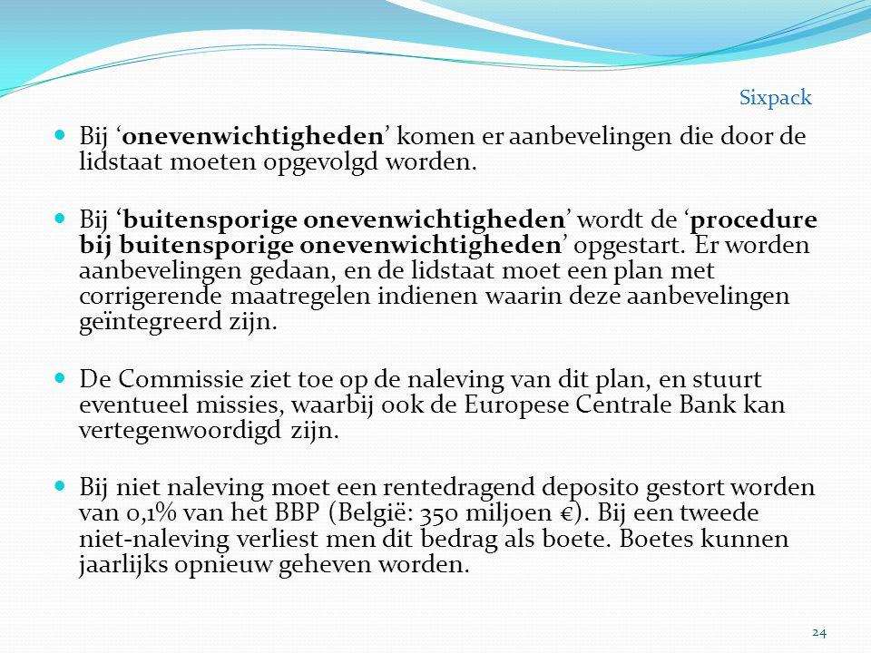 Bij 'onevenwichtigheden' komen er aanbevelingen die door de lidstaat moeten opgevolgd worden. Bij 'buitensporige onevenwichtigheden' wordt de 'procedu