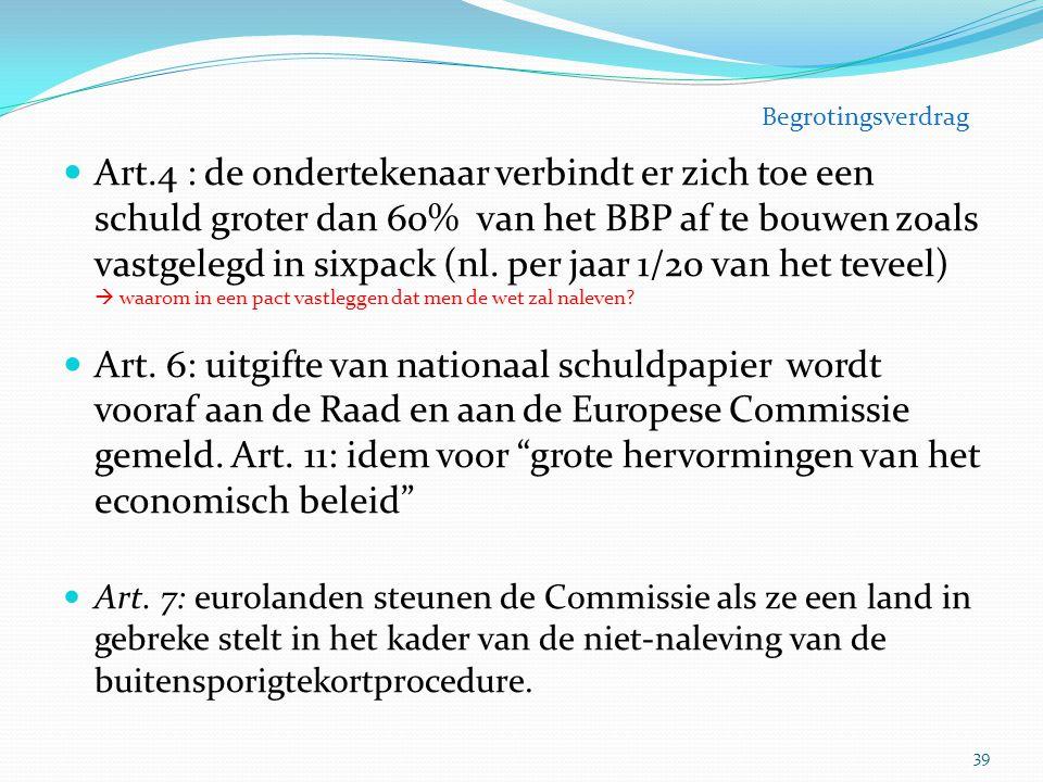 Art.4 : de ondertekenaar verbindt er zich toe een schuld groter dan 60% van het BBP af te bouwen zoals vastgelegd in sixpack (nl. per jaar 1/20 van he
