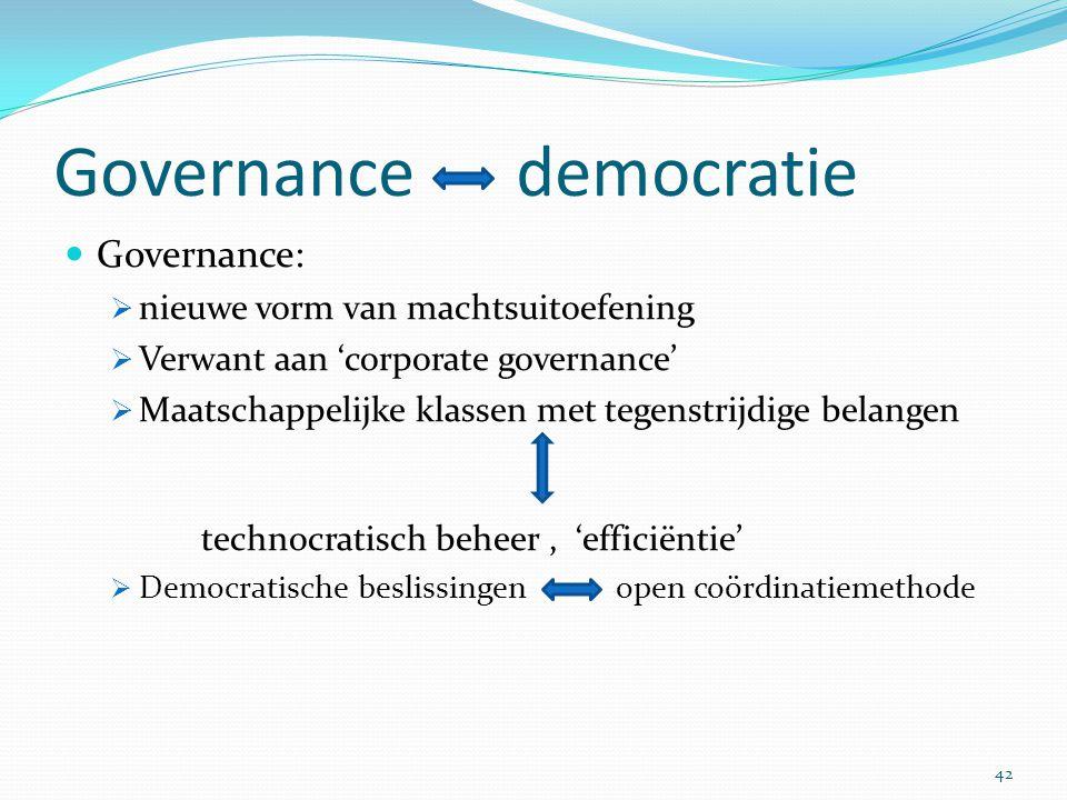 Governance democratie Governance:  nieuwe vorm van machtsuitoefening  Verwant aan 'corporate governance'  Maatschappelijke klassen met tegenstrijdi