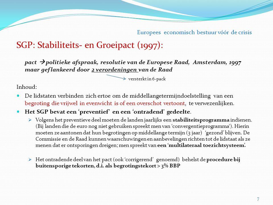 SGP: Stabiliteits- en Groeipact (1997): pact  politieke afspraak, resolutie van de Europese Raad, Amsterdam, 1997 maar geflankeerd door 2 verordening
