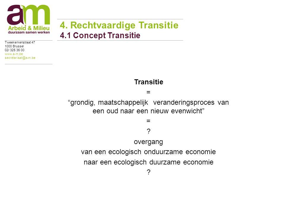 Transitie = grondig, maatschappelijk veranderingsproces van een oud naar een nieuw evenwicht = .