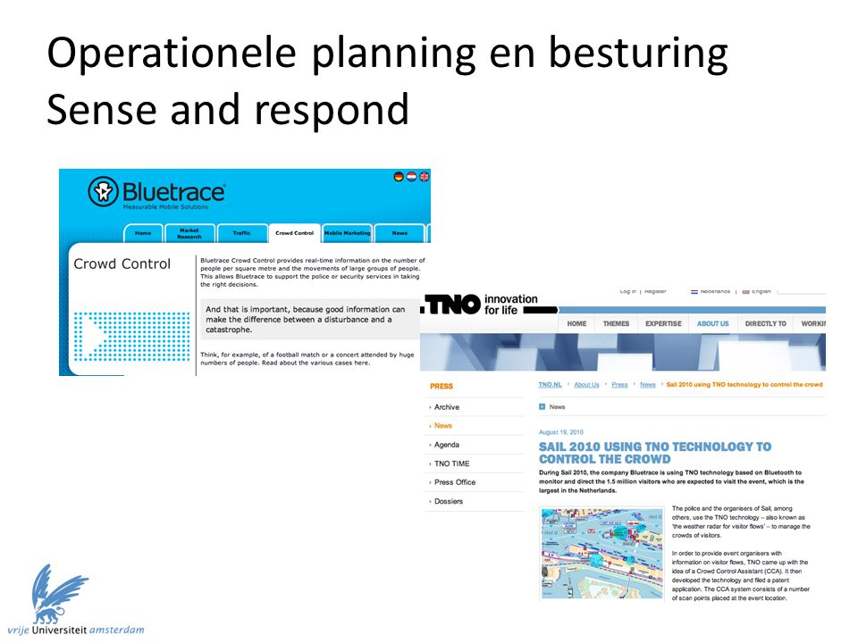 Operationele planning en besturing Sense and respond
