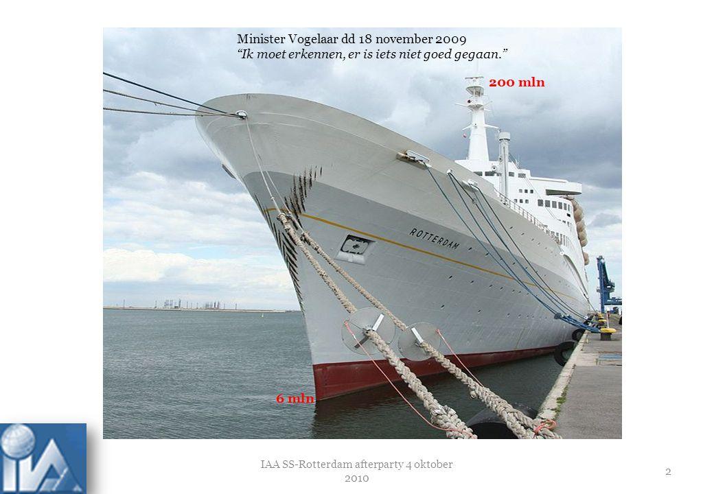 IAA SS-Rotterdam afterparty 4 oktober 2010 3 45 mln 225 mln 'Servatius bekijkt nog wat moet gebeuren met de 180 heipalen die inmiddels voor de campus in de grond geslagen zijn'.