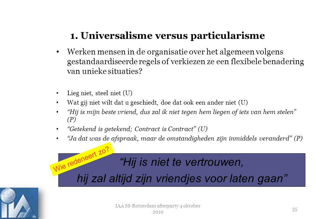 36 Particularisme: Uitzonderingen voor bijzondere omstandigheden Universalisme: Systemen en procedures gelden voor iedereen Uitzonderingen in algemene regels Chaos Verstikking